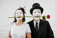 Two Mime Artists, Love Couple With Rose In Teeth