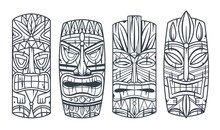 Trendy Hawaii Wooden Tiki Mask For Surfing Bar. Traditional Ethnic Idol Of Hawaiian, Maori Or Polynesian. Old Tribal Totem