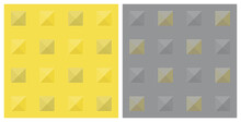Checkered Pattern, Pixel Dots, Pyramid Shape Top View, Yellow Gray. Abstract Pattern Seamless Background. Color Trend Of 2021. Textured For Fabric, Tile, Cover, Poster, Wall. Vector Illustration.