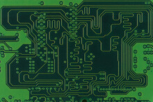 RAM Chip Close-up. Green Color. Tracks And Solder