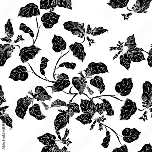 Fotografie, Tablou Seamless pattern with coral fuchsia plant in black and white color