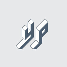 Volume Alphabet. Three-dimension Letters Y And P. Isometric 3d Font For Design. YP - Monogram Or Logotype.