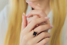 Diamond Ruby Ring On Young Model. Black Dress And Necklace.