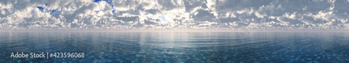 Fototapeta Panorama of the ocean at sunrise, sea and clouds, 3D rendering obraz