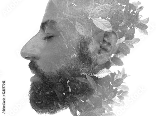Obraz A philosophical portrait of a dreaming man - fototapety do salonu