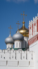 White Wall And Watchtower Of Novodevichy Convent Against The Background Of The Domes Of The Cathedral, Moscow, 2021