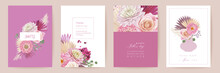 Happy Mothers Day Watercolor Card Set. Greeting Mom Postcard Design. Vector Rose, Dahlia Flowers
