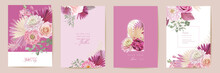 Mother Day Watercolor Card Set. Greeting Mom Minimal Postcard Design. Vector Rose, Dahlia Flowers
