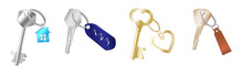 Keys On Keychain. Realistic Golden And Silver Keys On Metal, Plastic And Leather Keyring Holders
