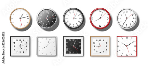 Fotografie, Obraz Set of realistic clocks and watches for office