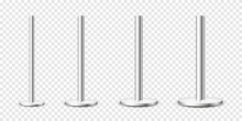 Realistic Metal Poles Collection Isolated On Transparent Background. Glossy Steel Pipes Of Various Diameters. Billboard Or Advertising Banner Mount, Holder. Vector Illustration.