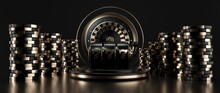 Roulette Wheel, Slot Machine And Casino Chips, Modern Black And Golden Isolated On The Black Background.  - 3D Illustration