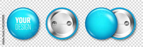 Canvas Realistic blue blank badge isolated on transparent background