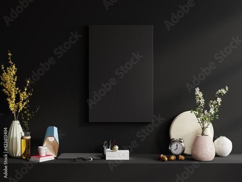 Mockup frame on shelf in living room interior on empty dark wall background.