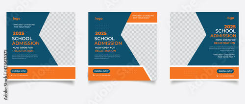 Fototapeta School admission for social media post template	 obraz