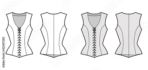 Bodice vest waistcoat technical fashion illustration with sleeveless, V-neck, lacing front closure, fitted body Fototapet