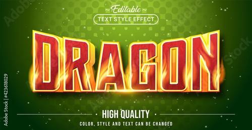 Fototapeta Editable text style effect - Dragon text style theme. obraz