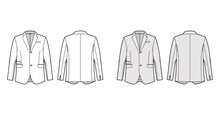 Tailored Jacket Lounge Suit Technical Fashion Illustration With Long Sleeves, Notched Lapel Collar, Flap Went Pockets. Flat Coat Template Front, Back, White, Grey Color Style. Women, Men, CAD Mockup