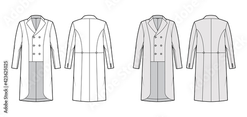 Fototapeta Horse riding jacket tuxedo technical fashion illustration with double breasted, long sleeves, low high hem. Flat show equestrian coat template front, back, white, grey color style. Women, men top CAD obraz