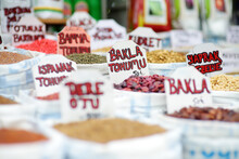 Sale Of Seeds Of Garden Plants On Market In Eminonu District, Istanbul. Here You Can Buy Seeds Of Greenery, Herbs, Vegetables, Flowers And Seedlings.