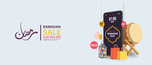 Ramadan Sale, Web Header Design With Islamic Festival For Banner, Poster, Background, Flyer,illustration, Brochure And Sale Background