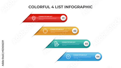 Canvas Print 4 points of list diagram layout, colorful infographic element template vector