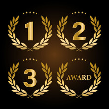 1st, 2nd, 3rd Sports Awards Three Medals, Gold Isolated On A Black Background Design
