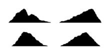 Rock Mountain Silhouette. Topographic Hill Set