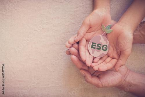 Fototapeta Hands holding growing tree on earth, ESG Environmental, social and corporate governance concept obraz