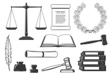 Law, Court And Criminal Justice System Symbols. Last Will Testament Document, Oak Wreath And Scales Of Justice, Judge Gavel, Open Book And Quill Pen, Inkwell, Signet Stamp And Binders Engraved Vector