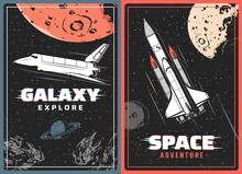Galaxy Explorer Retro Vector Posters With Glitch Effect. Outer Space Exploration, Cosmic Adventure Vintage Cards With Spaceship Or Shuttle On Moon Orbit, Saturn Planet, Meteors And Stars In Universe
