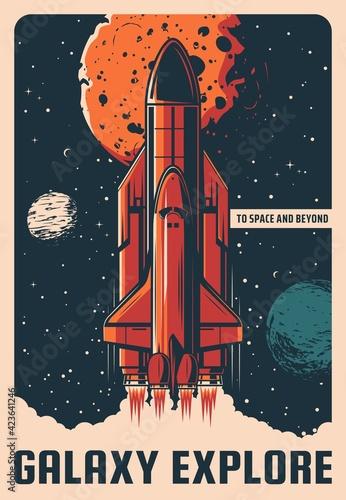 Fotografia Galaxy explore vector retro poster