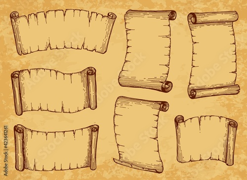 Obraz Scrolls, paper parchments and old manuscripts, vector ancient vintage papyrus. Sketch scrolls and parchment banners, antique document rolls and scripture letters with torn worn edges - fototapety do salonu