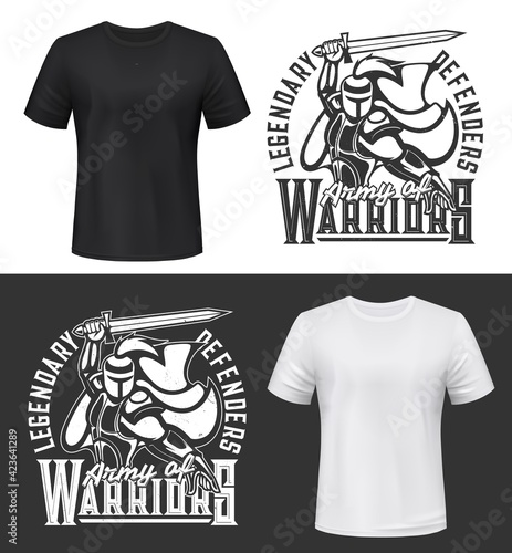 Tshirt print with knight and sword vector mockup, fight club mascot medieval warrior in helmet and cape attack Wallpaper Mural