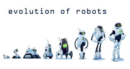 Robots evolution, AI android transformer bots, vector robo cybernetics technology. Robots and cyborgs, futuristic artificial intelligence and smart computer engineering progress, robotic machines