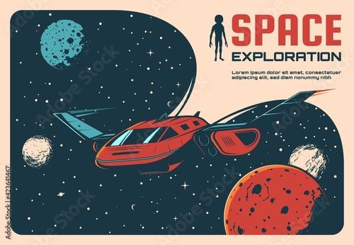 Space exploration adventure retro poster Fotobehang