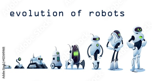 Obraz Robots evolution, AI android transformer bots, vector robo cybernetics technology. Robots and cyborgs, futuristic artificial intelligence and smart computer engineering progress, robotic machines - fototapety do salonu