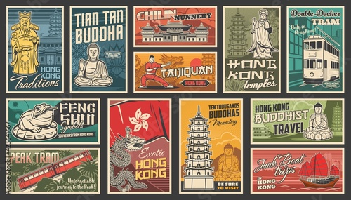 Fototapeta Hong Kong travel vector Chinese landmarks. Dragon, traditional ancient pagoda building architecture, buddha statue and Hongkong flag with orchid, temple and feng shui frog. Asian tourism retro posters obraz