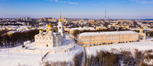 Scenic Aerial View Of Snow Covered Architectural Ensemble Of Orthodox Dormition Cathedral In Russian Town Of Vladimir In Winter