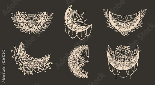 Fototapeta Moon crescent flower mandala.Astrology boho witch symbol amulet.Sacred mystic decoration trendy style obraz