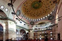 Interior Of The Suleymaniye Mosque In Istanbul. Turkey