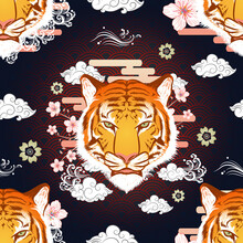 Seamless Pattern Front Face Tiger With Sakura Flower  Surround On Horizontal Gradient Cloud With Water Splash And Curvy Cloud On Gradient Red Black Background Vector Design Template For Wrapping Paper