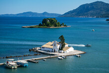 Beautiful Summer View Of The Vlacherna Monastery And The Island Of Ponticonisi Or Mouse Island In Kerkyra. Corfu. Greece