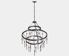 A Decorative Chandelier Made Out Of Tarnished Iron With Hanging Glass Lamps On An Isolated Background - 3D Render