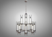 A Decorative Chandelier Made Out Of Tarnished Iron With Upright Glass Lamps On An Isolated Background - 3D Render