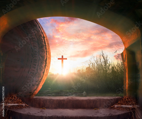 Fotografie, Obraz Easter concept: Tomb Empty With Crucifixion At Sunrise