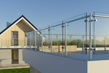 Modern Stainless Steel Railing With Glass Panel, 3D Illustration