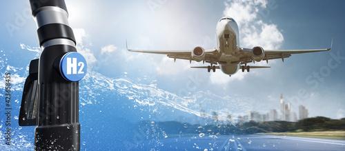 Obraz na plátne Flugzeug - Wasserstoff - Antrieb
