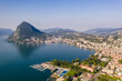 Aerial view of the city of Lugano with mount San Salvatore by lake Lugano in Canton Ticino in Switzerland