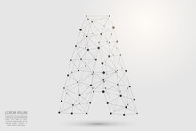 Abstract Letters Font Is Composed Of Three-dimensional Triangles, Lines, Dots And Spider Webs Of Connections. Vector Illustration Eps 10.